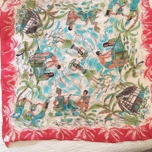Vintage Silk South Pacific Scarf
